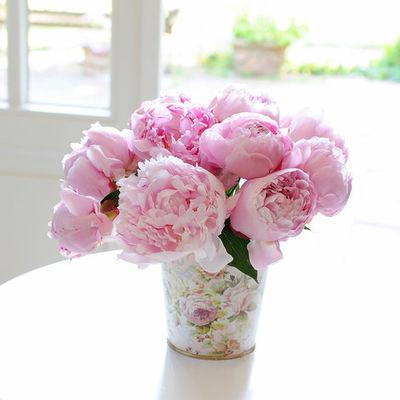 blumenstrau 10 rosafarbene pfingstrosen von auf. Black Bedroom Furniture Sets. Home Design Ideas