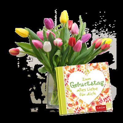 blumenstrau 20 bunte tulpen mit buch zum geburtstag alles liebe f r dich von auf. Black Bedroom Furniture Sets. Home Design Ideas