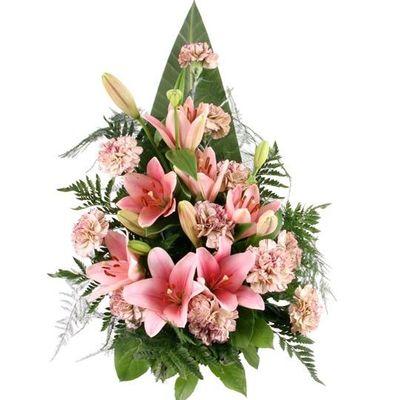 blumenstrau rosa grabstrau mit lilien und nelken von. Black Bedroom Furniture Sets. Home Design Ideas