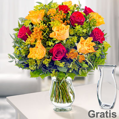 Blumenstrauß Rosenstrauß In Rot Und Orange Von Floraprima Auf Blumende